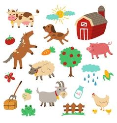 Farm Animal cartoon set vector image