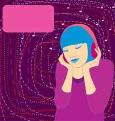 girl music headphones cover vector image