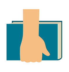 hand holding a book icon vector image vector image