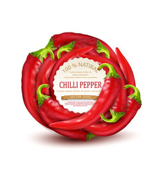 red hot chili pepper placed in a circle vector image