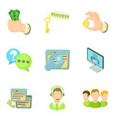 Revenue icons set cartoon style vector