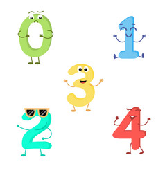 set of funny characters from numbers vector image