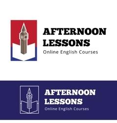 english courses logo concept with big ben vector image vector image