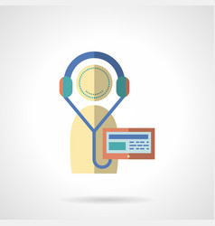Flat color audio lessons icon vector image