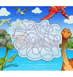 Game template with dinosaurs in the lake vector image