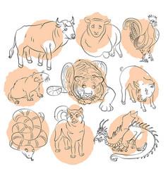 nine chinese calendar animals vector image