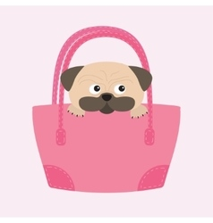 Pug dog mops in the bag cute cartoon character vector