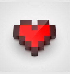 red pixel isometric heart clean vector image vector image