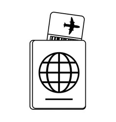 boarding pass and passport icon image vector image vector image