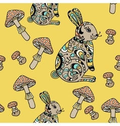 Seamless pattern with forest hare and mushroom vector image