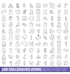 100 colleagues icons set outline style vector