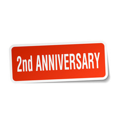 2nd anniversary square sticker on white vector