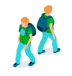 a boy is isometric in different angles vector image