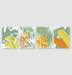 abstract tropical palm tree leaves set template vector image