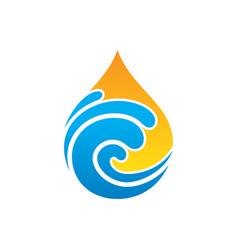 Abstract wave waterdrop nature logo vector