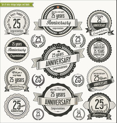 Anniversary retro badges collection 25 years vector