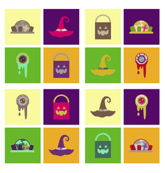 Assembly flat icons halloween zombie eyes bag vector