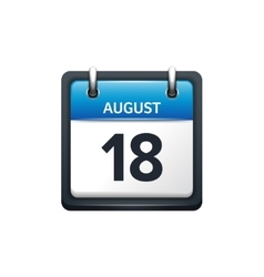 August 18 Calendar icon flat vector image