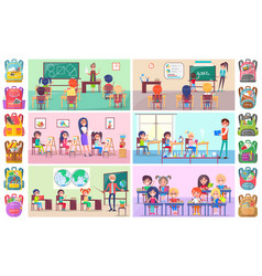 back to school label pupils and teacher vector image
