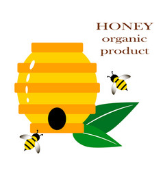 Beehive with bees logo honey vector