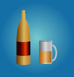beer bottle and glass on blue background vector image