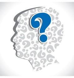 big question mark in head vector image