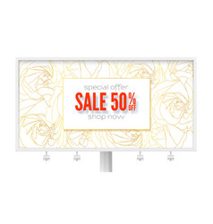 billboard with spring sale ad get up to 50 vector image