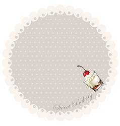 Border design with cake in glass vector