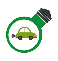 Bulb light with eco car inside vector