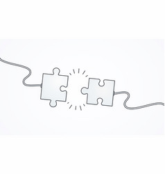 Business concept connecting puzzle pieces solving vector