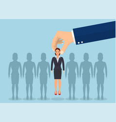 business hand picking up a businesswoman vector image