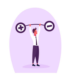 businessman holding weights balance scales plus vector image