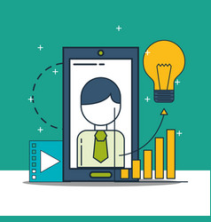 Businessman smartphone video idea chart digital vector