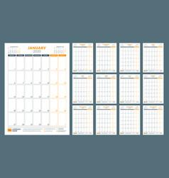 Calendar for 2020 year calendar planner vector