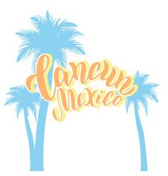 cancun mexico typography logo design sunny travel vector image