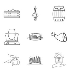 care of the farm icons set outline style vector image