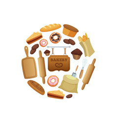cartoon bakery in circle shape vector image
