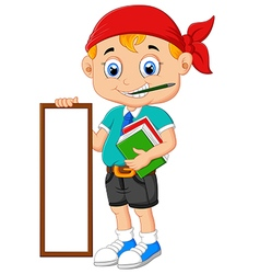Cartoon boy holding board and books vector