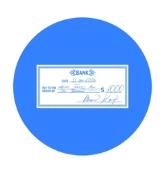 Cheque icon in black style isolated on white vector