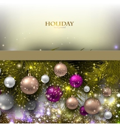 Christmas background with balls Colorful Xmas vector image