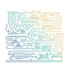 City life - line design composition - color vector