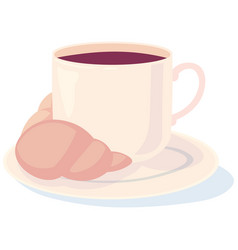 Coffee with a croissant for your loved one vector
