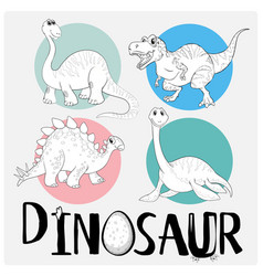 coloring template with four dinosaurs vector image