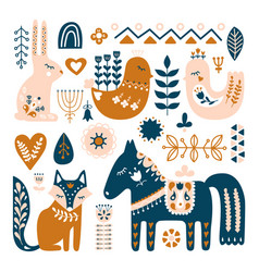 Composition with folk art animals and decorative vector