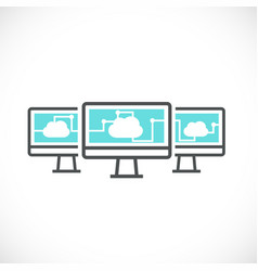 computer and cloud computing networking icon vector image
