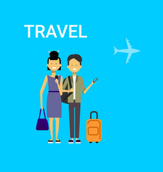 Couple of tourists with bags travel on air happy vector