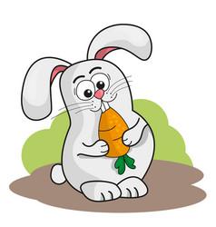 cute cartoon rabbit holding a carrot vector image