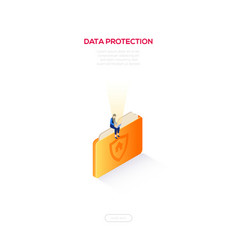 data protection - modern isometric web vector image