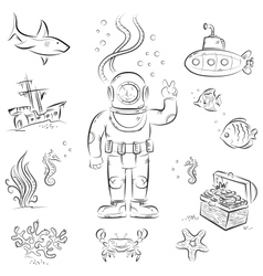 Deep diving vector image