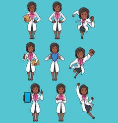 Doctor indian female set vector